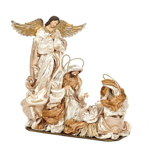 HOLY FAMILY ON BASE CRM/GLD 50CM