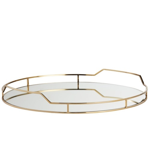 DECORATIVE TRAY Ø51 CM. LIGHT GOLD
