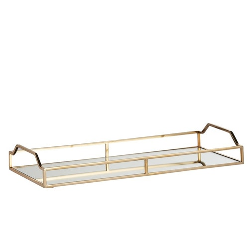 DECORATIVE TRAY H6 CM. LIGHT GOLD