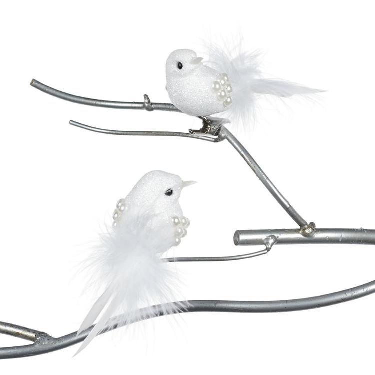 BIRD ON CLIP WH 12CM. 24 st