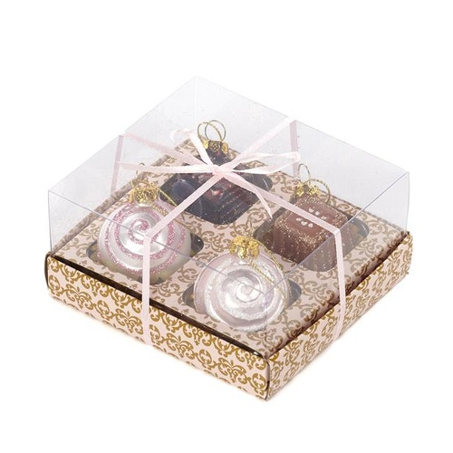 CHOCOLATE BOX/4 PNK/BRWN 5CM. 4 boxar