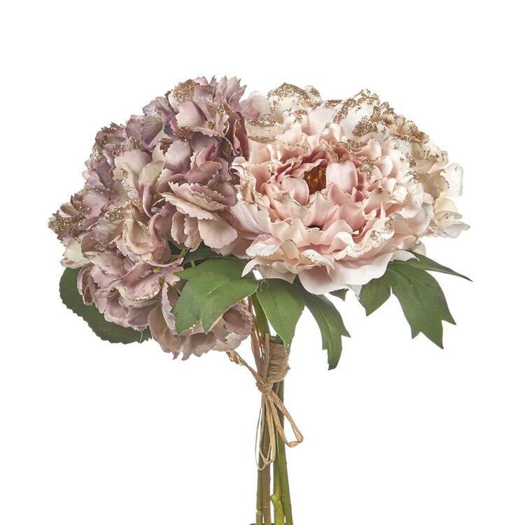 FLOWER BOUQUET PNK/GLD 34CM. 6 st