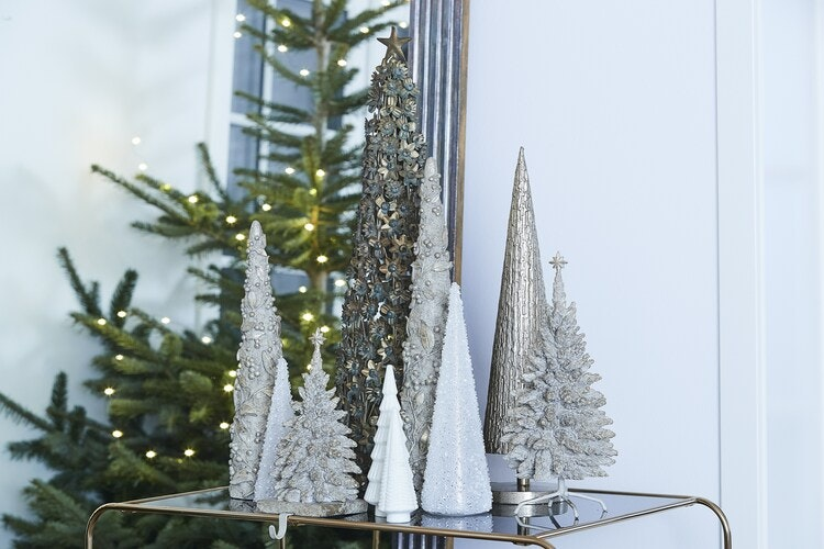CHRISTMAS TREE H47 CM. ANTIQUE SILVER