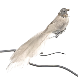 NECK BIRD ON CLIP CRM/GLD 25CM. Set/4