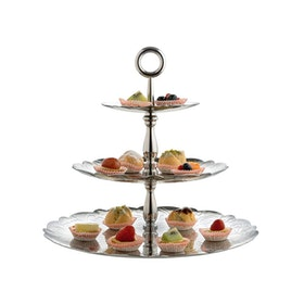 Three-dish cake stand in 18/10 stainless steel with relief decoration .
