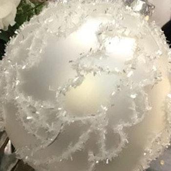 Julgransdekoration. 12 cm. Gl. Ball. white. 6 piece