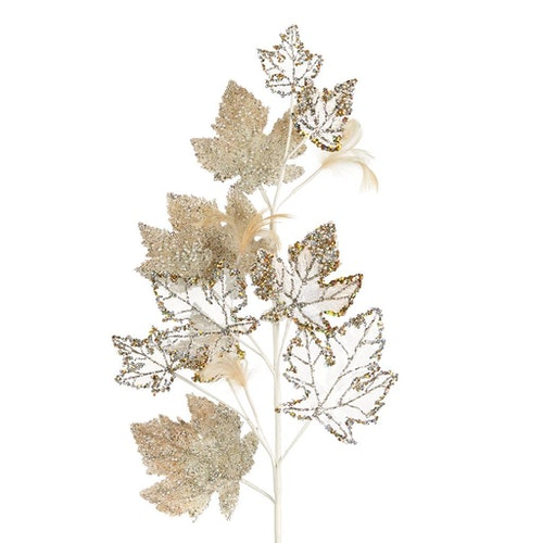 GRAPE LEAF STEM CRM/GLD 80CM. 6/set
