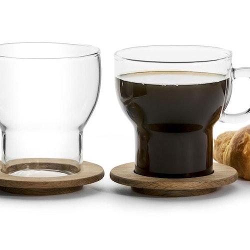 Oak glasmugg med ekunderlägg, 2 x 2-pack.