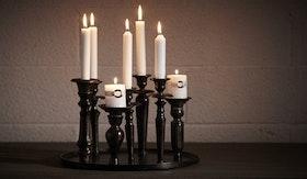 Round Black Candleholder 7-Lights.