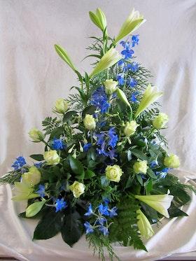Stående dekoration i blått & vit