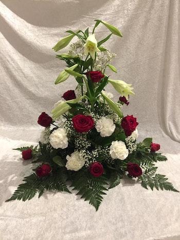Stående dekoration i vitt & rött