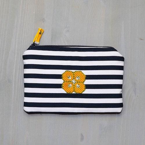 Handväska Retro Broderi svartvit-gul