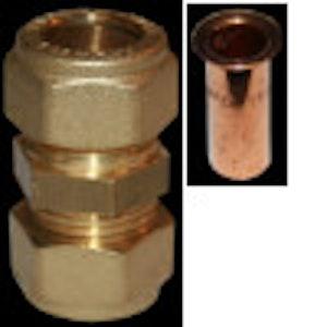 Klämingskoppling Rak G15 Gul passar för pexslang 15x2,5 med Stödhylsa 15x2,5 SA2703