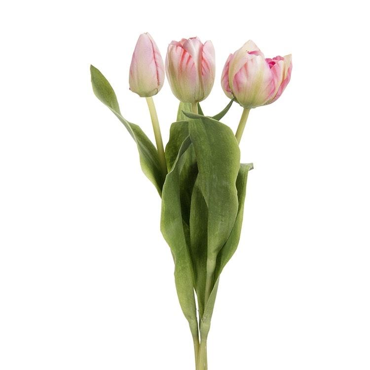 Tre konstgjorda, rosa med gröna inslag, tulpaner som är olika mycket utslagna.
