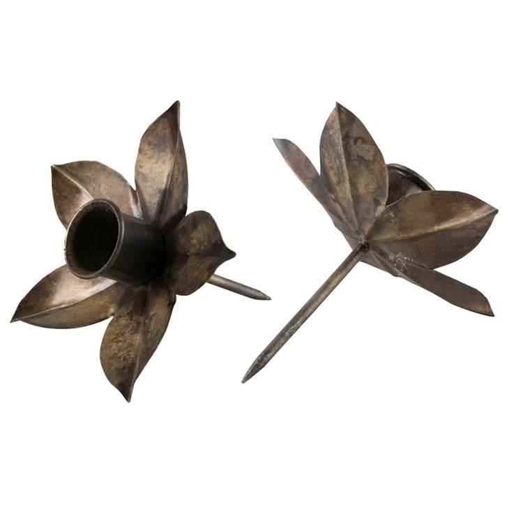 Ljushållare för kronljus 2-pack Antikbrun