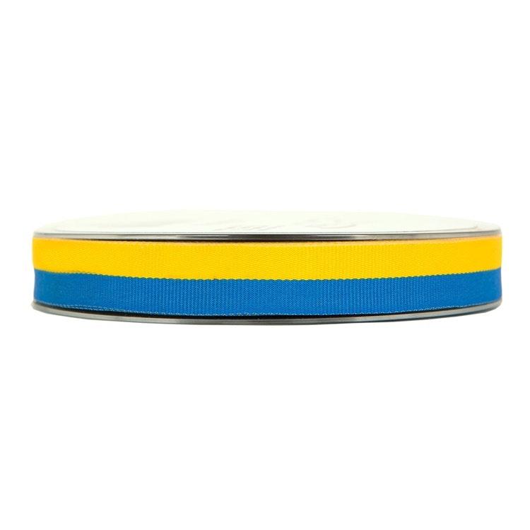 Vävt band i blått och gult.