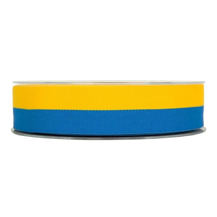 Ett band i blått och gult