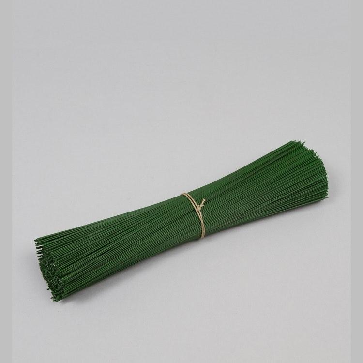 Skafttråd / Blomtråd, grön lackerad. Hel bunt