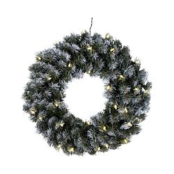 Krans med snö och LED-belysning, 50cm