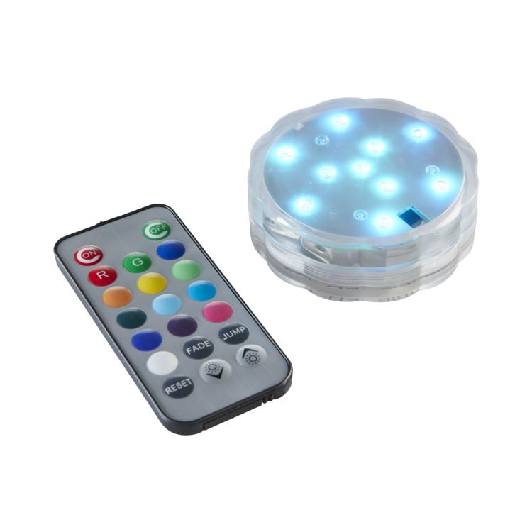 Vattentät dekorationspuck med LED-ljus