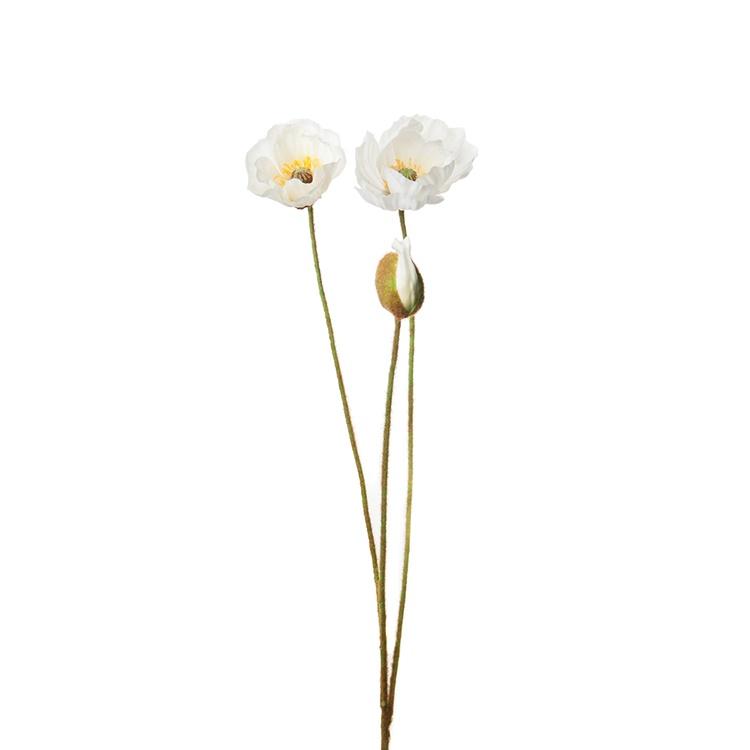 Konstgjord Vallmo, vit 75 cm