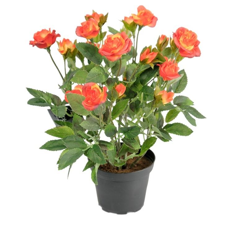 Konstgjord Ros i kruka, Orange