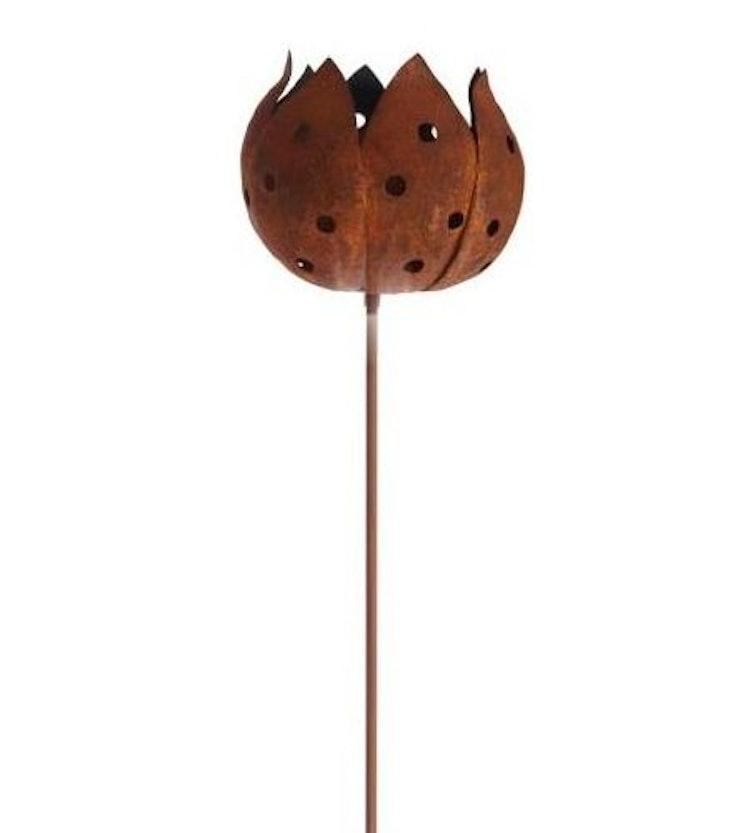 En rostig marschallhållare i form av en blomma på en hög pinne.