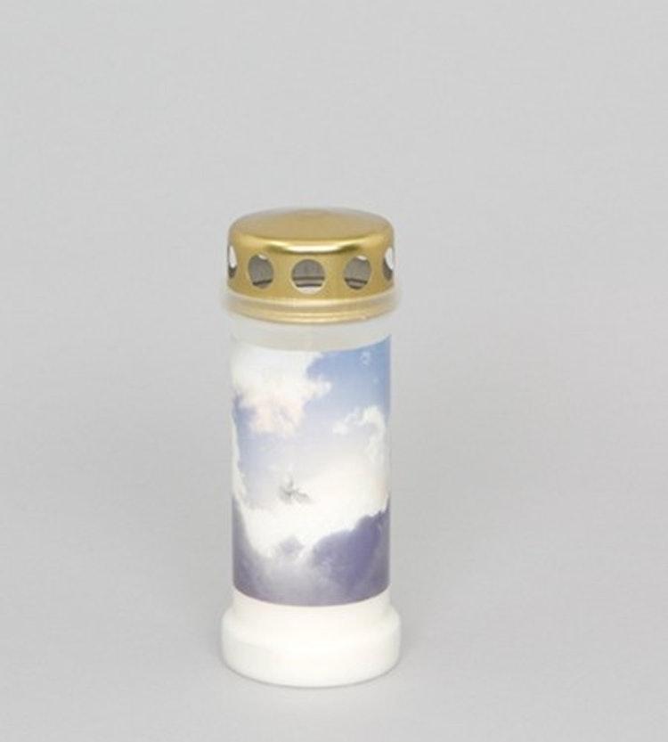 Ett oljeljus med himmelsmotiv och guldlock