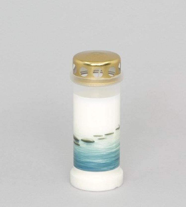 Ett oljeljus med havsmotiv och guldlock