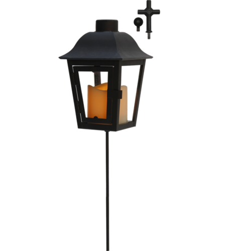 Gravlykta Svart med sensorstyrt LED-Ljus
