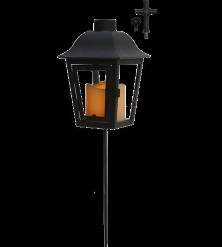 Lykta Svart med sensorstyrt LED-Ljus
