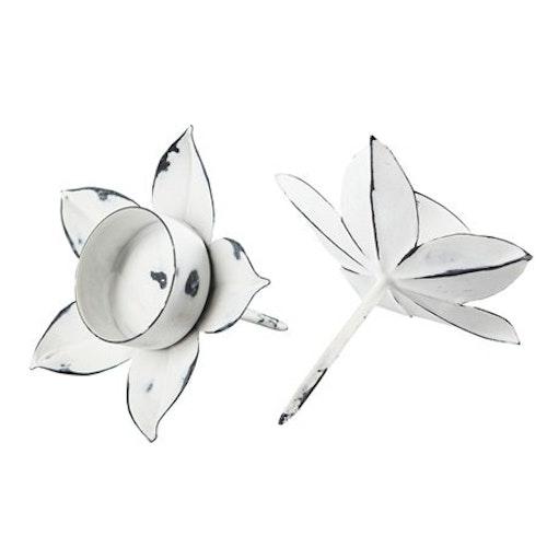 Ljushållare för värmeljus Antikvit 2-pack