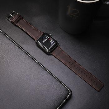 Apple Watch Äkta Läderband 38/40mm Mörkbrun RAK
