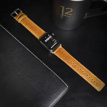 Apple Watch Äkta Läderband 38/40mm Ljusbrun RAK
