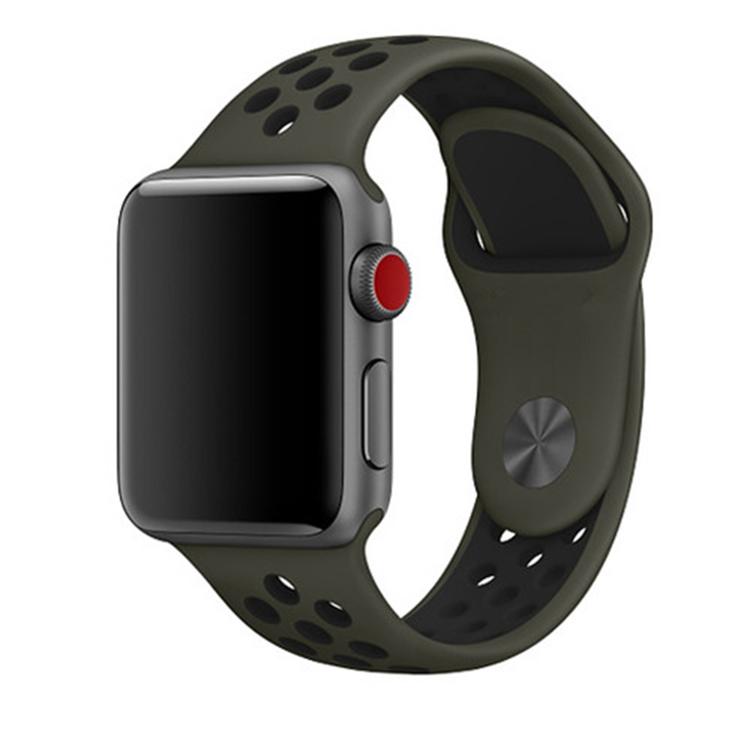 Silikonband för Apple Watch Militär-Grön/Svart 38/40mm