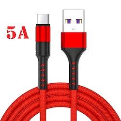 """2m - USB-C 5A - """"RÖD"""" / kabel / laddsladd / snabbladdning"""