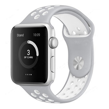Apple Watch Armband sport S/M Grå/Vit 42/44mm
