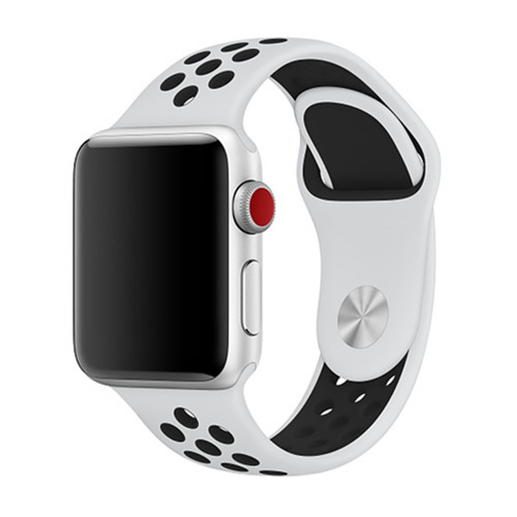 Apple Watch Silikon Vit/Svart 42/44mm  (140mm-190mm)