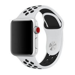 Silikonbnad för Apple Watch Vit/Svart 42/44mm  (160mm-210mm)