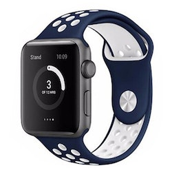 Silikonband för Apple Watch Blå/Vit 42/44mm