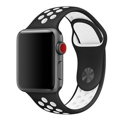 Silikonband för Apple Watch Svart/Vit 42/44mm