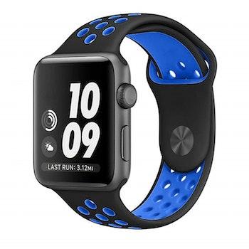 Silikonband för Apple Watch  Svart/Blå 42/44mm