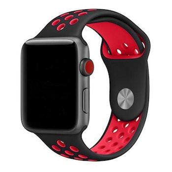 Silikonband för Apple Watch Svart/Röd 42/44mm