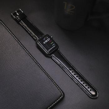 Apple Watch Äkta Läderband 42/44mm Svart