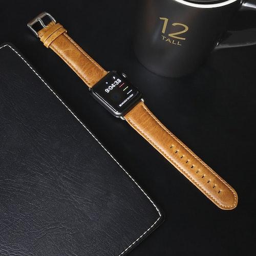 Apple Watch Äkta Läderband 42/44mm Ljusbrun
