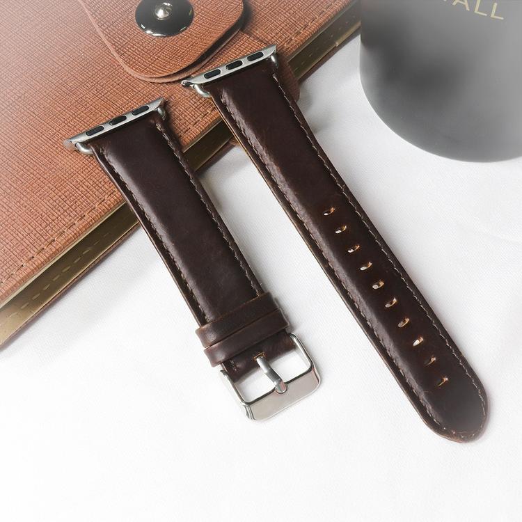 Apple Watch Äkta Läderband 42/44mm Mörkbrun