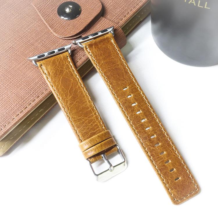 Apple Watch Äkta Läderband 42/44mm Ljusbrun RAK