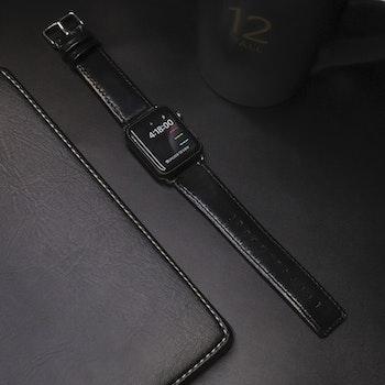 Apple Watch Äkta Läderband 42/44mm SVART RAK