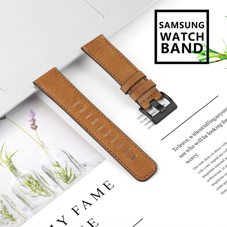 Samsung Galaxy 46mm Äkta Läder Ljusbrun
