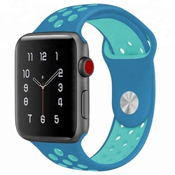Silikonband för Apple Watch Blå/Ljusblå 42/44mm